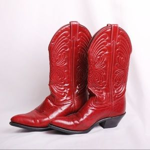 Laredo Red Leather Cowboy Boots
